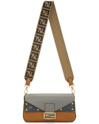 84bded9805 Fendi - Grey And Tan Forever Baguette Bag - Lyst