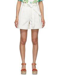 See By Chloé - White Denim Tie Shorts - Lyst