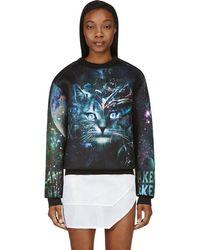Juun.J - Ssense Exclusive Black And Teal Cosmic Cat Sweatshirt - Lyst