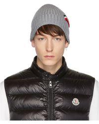 7b77e02c3 Moncler Black Extra Fine Wool Beanie for Men - Lyst