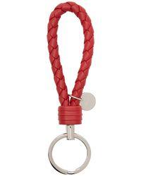 Bottega Veneta - Red Intrecciato Loop Keychain - Lyst
