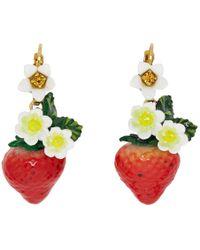 Dolce & Gabbana - Multicolor Strawberry Drop Earrings - Lyst