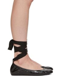 Lanvin - Black Ankle Strap Ballerina Flats - Lyst