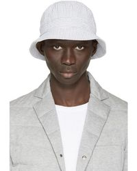 Moncler Gamme Bleu - White & Grey Seersucker Bucket Hat - Lyst