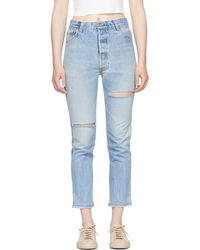 RE/DONE - Indigo Levis Edition High-rise Ankle Crop Jeans - Lyst