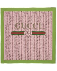 Gucci - Pink Silk Flowers Scarf - Lyst