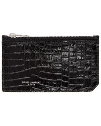 Saint Laurent - Black Croc Fragment Zipped Card Holder - Lyst