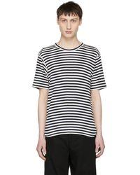 Junya Watanabe - Navy And Off-white Stripe Knit T-shirt - Lyst