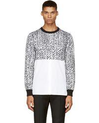 Kris Van Assche - Ssense Exclusive Black & White Chevron Hybrid Shirt - Lyst