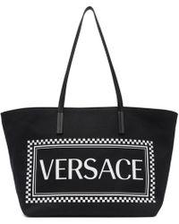 Versace - Black Logo-print Tote Bag - Lyst