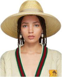 ed78fda3fc0 Gucci - Beige Straw Wide-brim Hat - Lyst