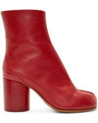 Maison Margiela - Ssense Exclusive Red Leather Tabi Boots - Lyst