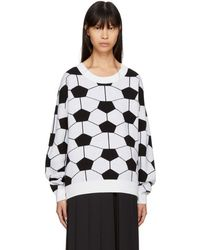 Gosha Rubchinskiy - White & Black Hexagon Crewneck Sweater - Lyst