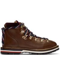 Moncler - Blanche Lace Up Leather Mountain Boots - Lyst
