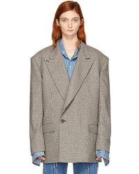 Vetements - Beige Check Oversized Blazer - Lyst