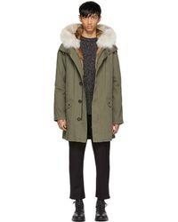 Yves Salomon - Green Long Fur-lined Military Coat - Lyst