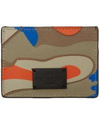 Valentino - Porte-cartes a motif camouflage bleu et orange Garavani - Lyst