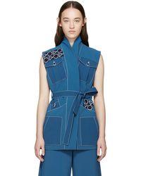 Peter Pilotto - Blue Embroidered Safari Vest - Lyst