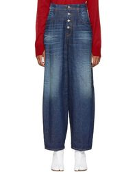 MM6 by Maison Martin Margiela - Blue High-waisted Jeans - Lyst