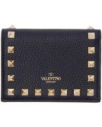 Valentino - Navy Garavani Small Rockstud Wallet - Lyst