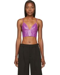T By Alexander Wang - Purple Lether Raw-edged Triangle Bralette - Lyst