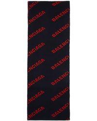 Balenciaga - Navy And Red Allover Logo Scarf - Lyst
