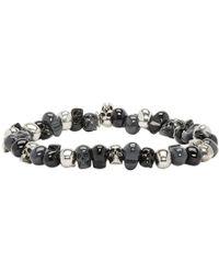 Alexander McQueen - Grey And Black Beaded Skull Bracelet - Lyst