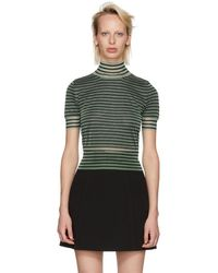 Fendi - Green Striped Crop Turtleneck - Lyst