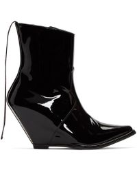 Unravel - Black Latex Low Wedge Boots - Lyst