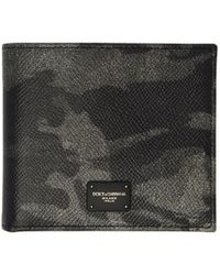 Dolce & Gabbana - Black And Grey Camo Bifold Wallet - Lyst