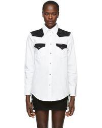 Calvin Klein - White And Black Denim Blocked Western Shirt - Lyst