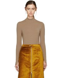 Nomia - Taupe Lurex Jersey Turtleneck - Lyst