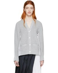 Sacai - Grey And White Panelled Cardigan - Lyst