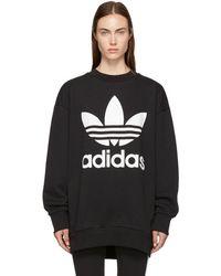 adidas Originals - Black Oversized Logo Sweatshirt Dress - Lyst