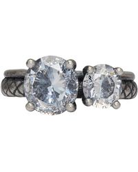 Bottega Veneta - Silver Twin Band Cubic Zirconia Ring - Lyst