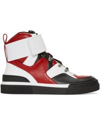 Balmain | Red And Black Cleveland High-top Sneakers | Lyst