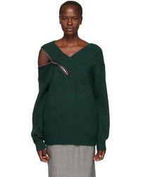 Christopher Kane - Green Crystal Zip V-neck Sweater - Lyst