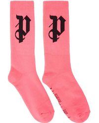 Palm Angels - Pink 'pa' Monogram Socks - Lyst