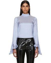 Erdem - Blue And White Silk Striped Lindsay Blouse - Lyst