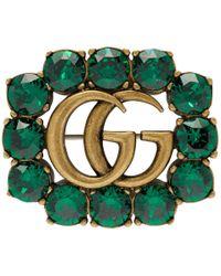 Gucci - ゴールド And グリーン マーモント ジェム ブローチ - Lyst