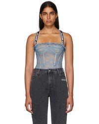 Off-White c/o Virgil Abloh - Blue Logo Lace Bodysuit - Lyst