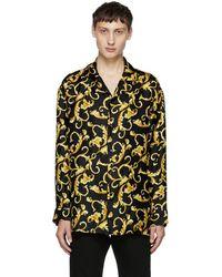 Versace - Black And Gold Printed Pyjama Shirt - Lyst