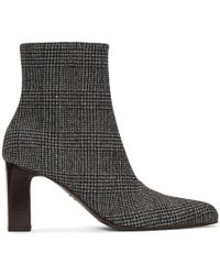 Balenciaga - Prince Of Wales Checked Wool Ankle Boots - Lyst