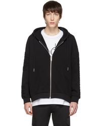 DIESEL - Black Distressed S-stitch Zip Hoodie - Lyst