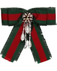 Gucci - Red And Green Striped Ribbon Brooch - Lyst