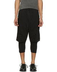The Viridi-anne - Black Destroyed Layered Shorts - Lyst