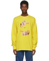 Off-White c/o Virgil Abloh - Yellow Long Sleeve Hands T-shirt - Lyst