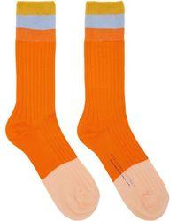 Stella McCartney - Orange Short Striped Socks - Lyst