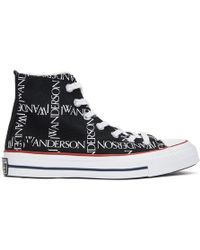 JW Anderson - Black Converse Edition All Over Logo Chuck Taylor All Star 70s Hi Trainers - Lyst