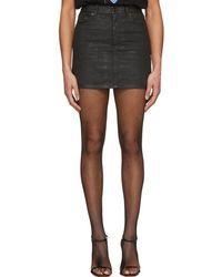 Saint Laurent - Black Coated Denim Miniskirt - Lyst